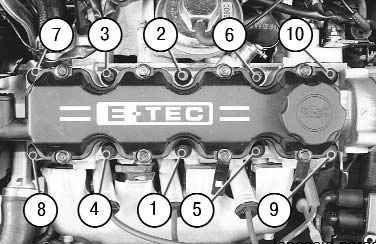 Схема обтяжки болтов ГБЦ Ланос